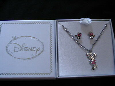 Disney Minnie Mouse Necklace & Earring Set Brand New Gift Boxed Rrp £39.99