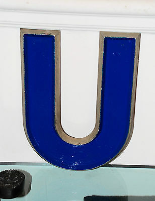 "Awesome vintage 1940/50s ADLER cinema marquee letter U cast aluminium - 10"" tall"