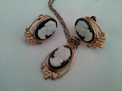 Elegant  Gold Filled Van Dell Cameo Necklace and Earring Set 1/20 12KTGF