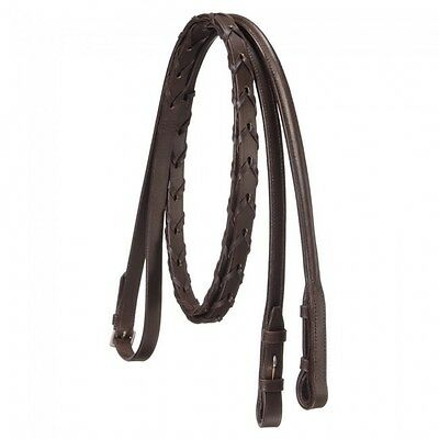 Silver Fox Brown Raised Laced English Reins Horse Tack Equine 20-8577
