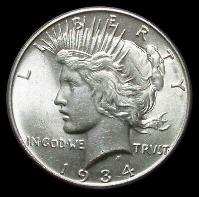 1934 United States Peace Silver $1 Dollar Coin Blazing Unc. Condition