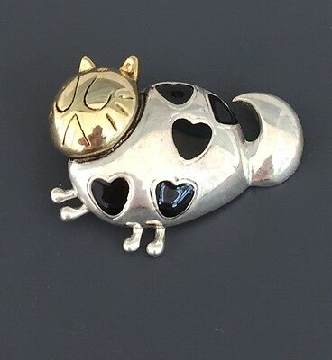 Adorable Vintage Cat With Hearts Pendant In Silver Tone Metal