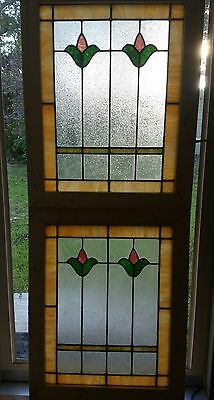 Antique Stained Glass Windows American Pair