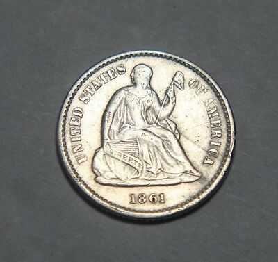 1861 H10C Liberty Seated Half Dime - Extremely Fine Condition - Combine S&H
