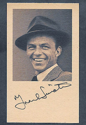 Frank Sinatra Autograph Reprint On Genuine Original Period 1950s 3x5 Card
