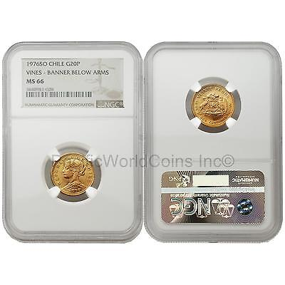 Chile 1976SO Vines Banner below Arms 20 Pesos Gold NGC MS66