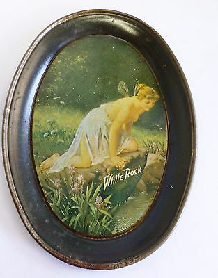 Vintage White Rock Water Soda Tip Tray Tin Advertising Nude Fairy