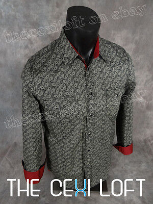 Mens WESTERN FASHION Snap-Up Shirt Black with Khaki Paisley ROAR with Class!