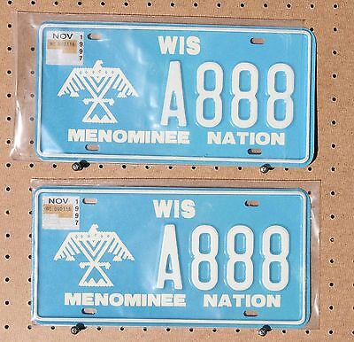 Pair - 1997 - Menominee Nation - A888 - License Plates - With Stickers