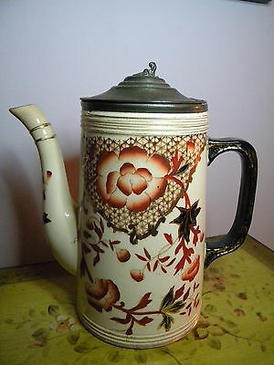 Antique Hand Painted Porcelain Coffee Pot With Attached Metal Lid #600 mark