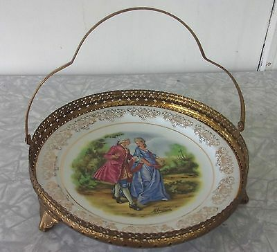 Alfred Meakin Courting Couple Sandwich Plate in Ornate Gold Caddy