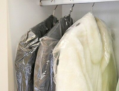"""Lot of 25 DRY CLEANER POLY GARMENT BAGS. 21"""" x 4"""" x  54"""" disposable garment bags"""