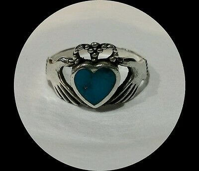 925 Sterling Silver Turquoise Celtic Claddagh Ladies Ring Sz 7.5