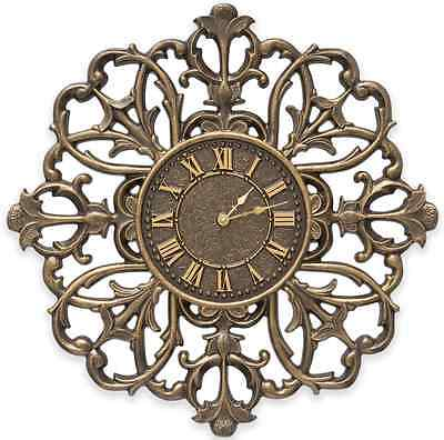 French Bronze Filigree Wall Clock Rustic Charm In & Outdoor Home Art Decor Large