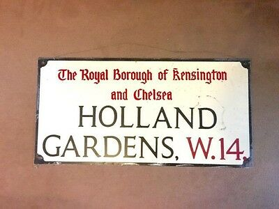 Original London Street Sign - Kensington & Chelsea - Holland Gardens
