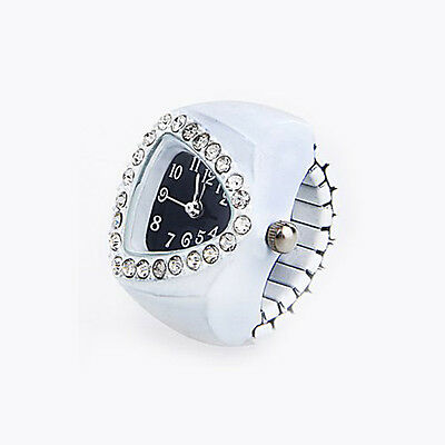 White Stretchy Rhinestone Finger Ring Time Watch 21mm HOT CT