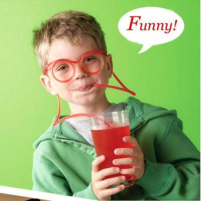 Novelty Silly Clear Drinking Straw Glasses Straws Kids Christmas Color Random LG