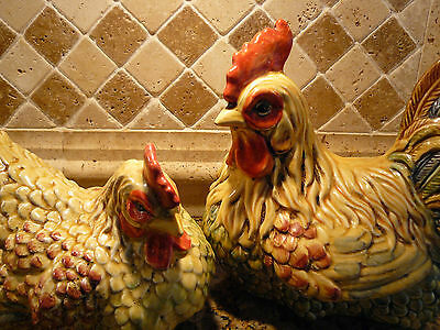 Spectacular Large Ceramic Country French / Farmhouse Chic Rooster & Hen Statues