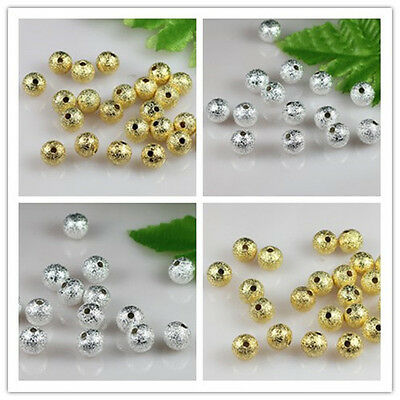 Wholesale 4-10mm Silver/gold plated Round Brass Stardust Spacer Beads pick