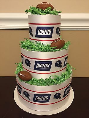 Diaper Cake New York NY Giants Football Boys 3 Tier Baby Shower Centerpiece