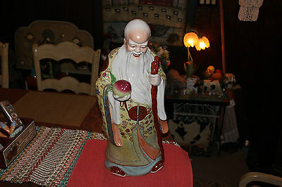Chinese Porcelain Pottery Statue Religious Spritual Man Smiling Cane Fruit Color