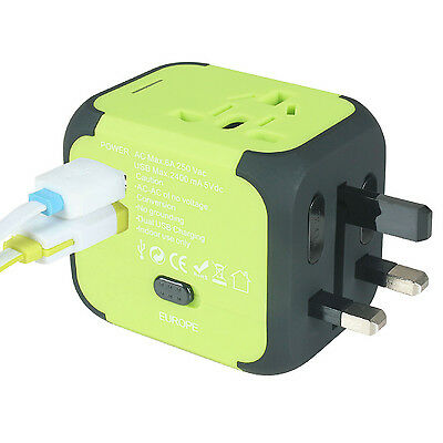 AU/UK/US/EU Universal Travel AC Power Charger Adapter Plug Converter 2 USB Green