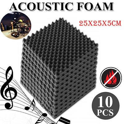 10Pcs Acoustic Foam Soundproof Sound Thick Absorption Pyramid Studio Board AP
