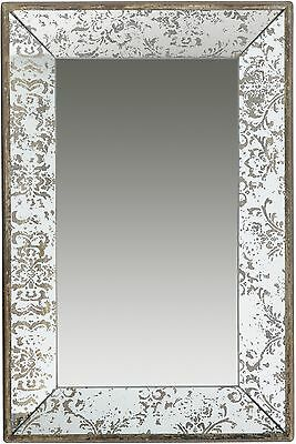 Wall Mirror Decor Rustic Rectangle Wood Antique Gold Finish Powder Room Vanity