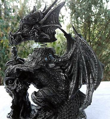 16Cm Black Dragon Bobble Head W/skull - New Fantasy/gothic Giftware