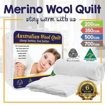 ALL SIZE 100% Australian Made Merino Wool Quilt 200 350 500 700 GSM Duvet