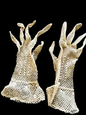 Antique Net Mesh Gloves X Small Lace Costume Display Collection