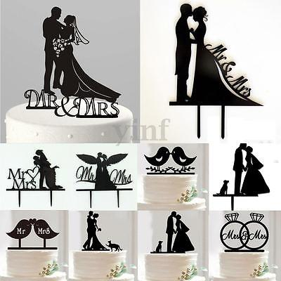 Mr&Mrs Wedding Cake Topper Bride & Groom Love Silhouette Party Favors Decoration