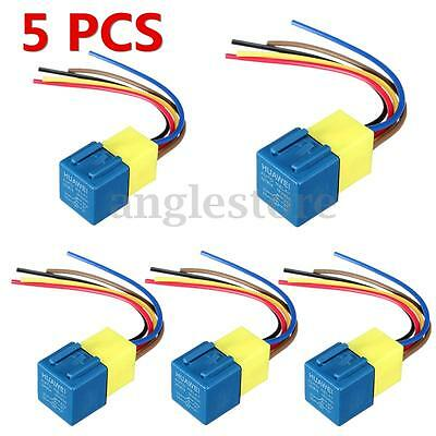 5pcs 12V DC 30A 40A Relay & Socket Auto Automotive Relay & Wires US NEW
