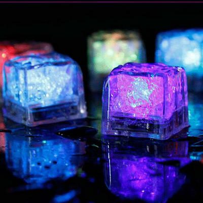 12X Flashing LED Ice Cubes Color Change Water Sensor Light for Bar Wedding Party