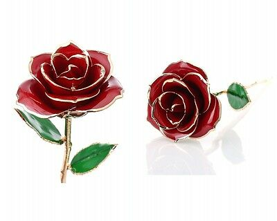 24K Gold Planted Red Rose Christmas Valentine's Day Gift for Girlfriend Wife