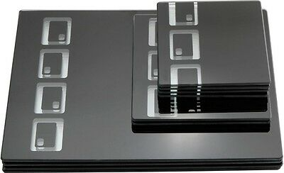 Placemats Glass Black Serving Mats Non Slip Surface Protecting 10 Piece Set