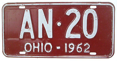Ohio 1962 Vintage License Plate Garage Old Car Auto Tag Pub Low Number AN 20
