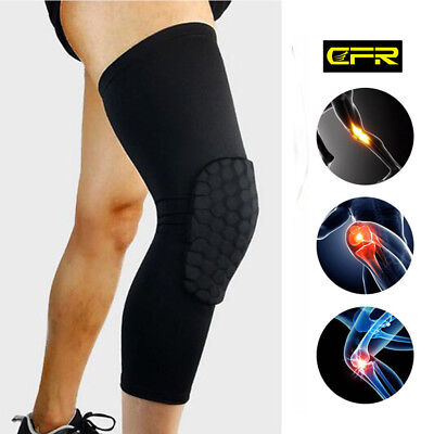 Honeycomb Pad Protective Gear Basketball Long Leg Knee Sleeve Cover Support HT