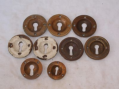 9 Assorted Reclaimed Raised & Recessed Brass Door Lock Key Surround Escutcheon