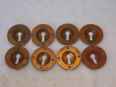 8 RECLAIMED RAISED & RECESSED BRASS DOOR LOCK KEY SURROUND ESCUTCHEON 63mm