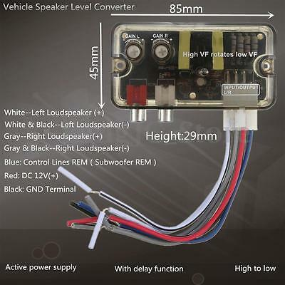 Car Vehicle RCA Stereo High to Low Frequency Level Audio Speaker Converter AU