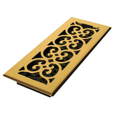 DECOR GRATES 4x12 Scroll Steel Plated Brass SPH412