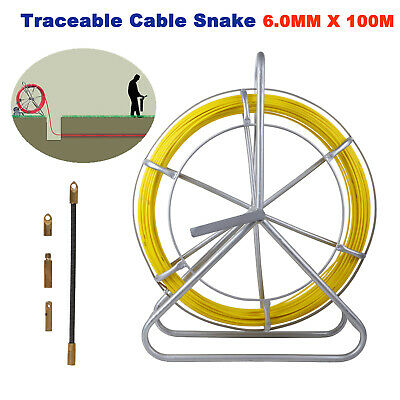 6mm x 150M Fiberglass Cable Snake Electricians Duct Rodder Puller T0111