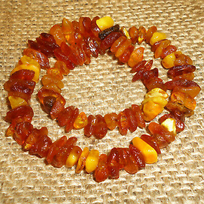Antique Genuine Baltic Egg Yolk Amber Necklace 18 gr. Very Beautiful! 113