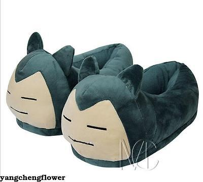 Anime Pokemon Go Snorlax Plush Slippers Soft Stuffed Indoor Home Shoes Toy Doll