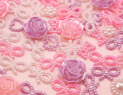 50 x Pink & Lilac Pearl Shapes (Hearts Bows Flowers) Decoden Kawaii UK SELLER