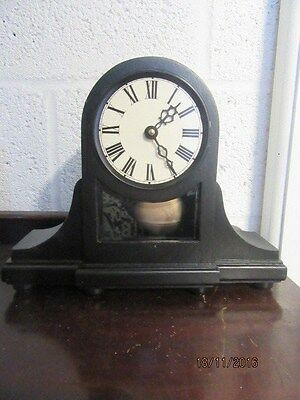 "Upcycled Retro Quartz Clock In Working Order Visible Pendulum 9.5"" x 12"""