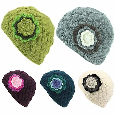Wool Knit Beanie Hat Ladies Women Warm Winter Cable Knitted Flower Lined