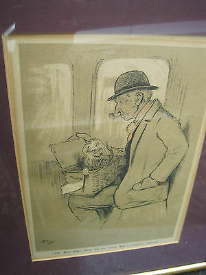 "Antique Cecil Aldin Print "" The Snob"" framed under glass"
