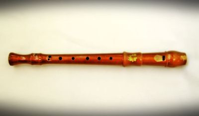 Vintage wooden flute Recorder yellow colour Whistle - marked